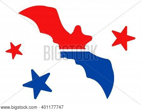 Flying Bat Icon In Blue And Red Colors With Stars. Flying Bat Illustration Style Uses American Offic