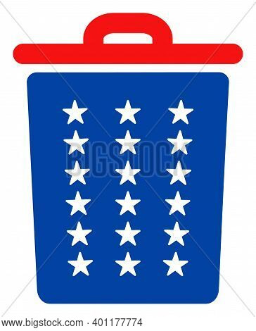 Trash Can Icon In Blue And Red Colors With Stars. Trash Can Illustration Style Uses American Officia