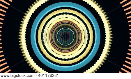 Hypnotic Moving Circles, Multicolored Psychedelic Abstraction. Animation. Visual Hallucinations, Dyn