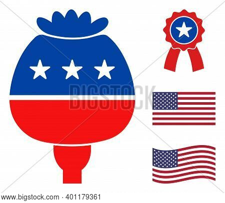 Opium Poppy Icon In Blue And Red Colors With Stars. Opium Poppy Illustration Style Uses American Off