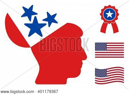 Open Mind Icon In Blue And Red Colors With Stars. Open Mind Illustration Style Uses American Officia