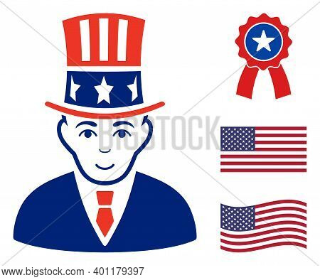 Uncle Sam Icon In Blue And Red Colors With Stars. Uncle Sam Illustration Style Uses American Officia