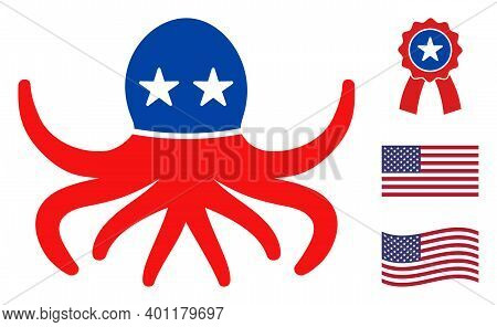 Octopus Icon In Blue And Red Colors With Stars. Octopus Illustration Style Uses American Official Co