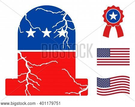 Old Grave Icon In Blue And Red Colors With Stars. Old Grave Illustration Style Uses American Officia