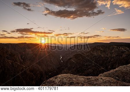 Burst Of Light On The Horizon At Sunet View In Black Canyon Of The Gunnison