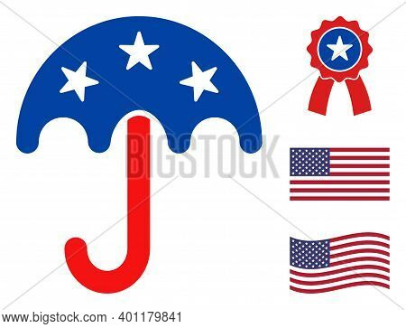 Umbrella Icon In Blue And Red Colors With Stars. Umbrella Illustration Style Uses American Official