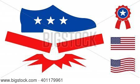 Step Fragile Icon In Blue And Red Colors With Stars. Step Fragile Illustration Style Uses American O
