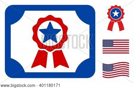 Diploma Icon In Blue And Red Colors With Stars. Diploma Illustration Style Uses American Official Co