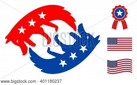 Dog Eats Itself Icon In Blue And Red Colors With Stars. Dog Eats Itself Illustration Style Uses Amer