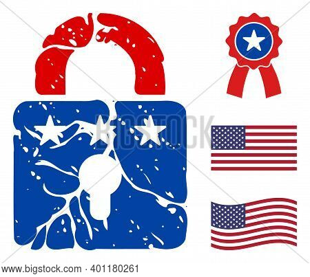 Rust Lock Icon In Blue And Red Colors With Stars. Rust Lock Illustration Style Uses American Officia