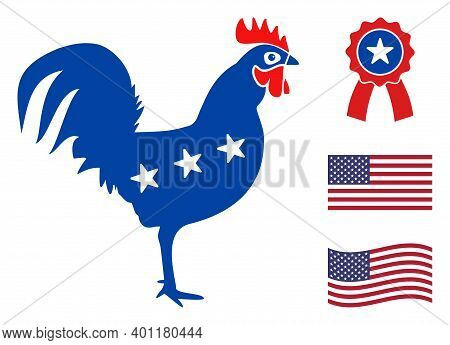 Rooster Icon In Blue And Red Colors With Stars. Rooster Illustration Style Uses American Official Co