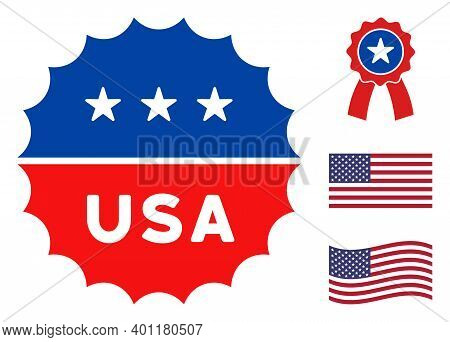 Usa Medallion Logo Icon In Blue And Red Colors With Stars. Usa Medallion Logo Illustration Style Use