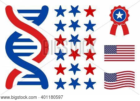 Dna Spiral Decode Icon In Blue And Red Colors With Stars. Dna Spiral Decode Illustration Style Uses