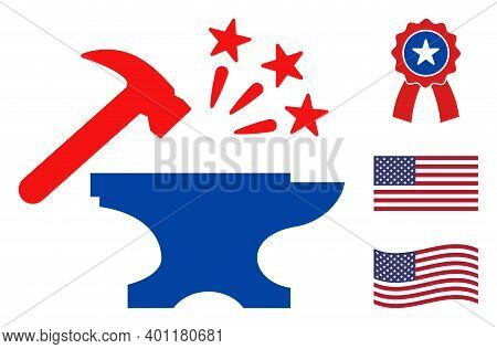 Forge Icon In Blue And Red Colors With Stars. Forge Illustration Style Uses American Official Colors