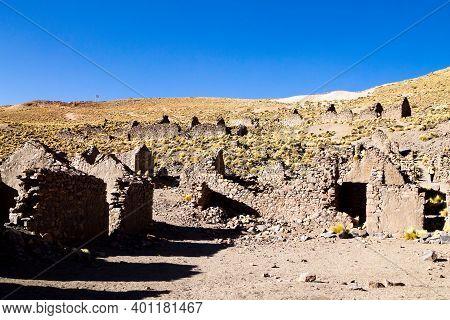 Ghost Village In Andean Plateau,bolivia.abandoned Mine.san Antonio De Lipez
