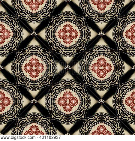Floral Ethnic Seamless Pattern. Vector Ornamental Background. Repeat Tribal Backdrop. Abstract Folkl