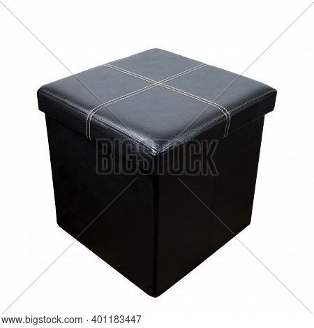 Black Leather Sofa Pouf Isolated On A White Background.