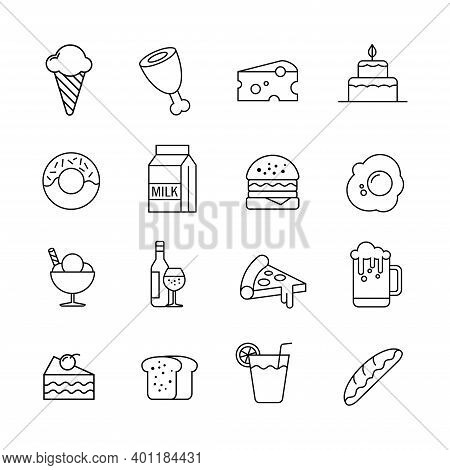 Collection Of Vector Illustrations Of Food Icons. Suitable For Design Elements Of Food Product Promo