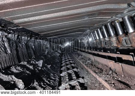 Coal Mine. Underground Coal Mining. The Mine Is Equipped With Hydraulic Support.