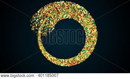Merging Three Radial Stripes Of Colored Particles Into A Spiral. Computer Generated 3d Render. Magic