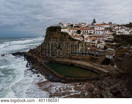 Panoramic View Of Seaside Town Azenhas Do Mar At Cliff Coast Beach Atlantic Ocean In Sintra Colares