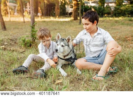 Dog And Funny Kids Enjoying Together Outdoors. Cute Children With Dog Walking In The Park On Sunny S