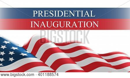 Usa Presidential Inauguration Day Celebration Concept Greeting Card With United States Of America Fl