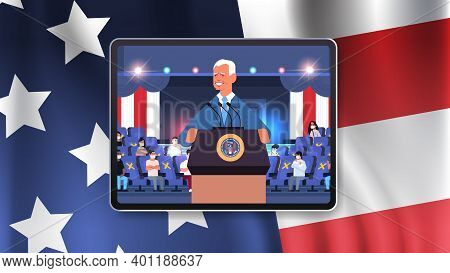 Male President Democrat Winner Of United States Presidential Election Man Giving Speech From Tribune