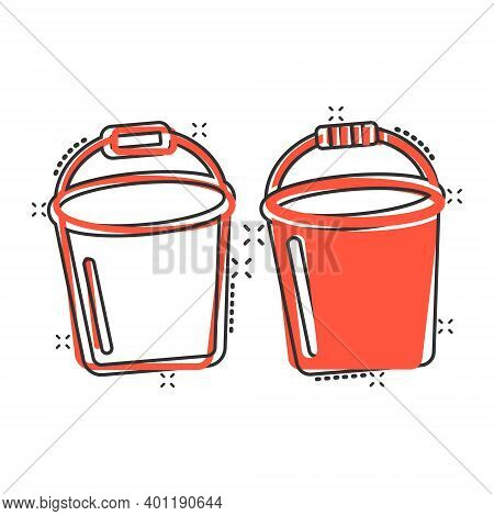 Bucket Icon In Comic Style. Garbage Pot Cartoon Vector Illustration On White Isolated Background. Pa