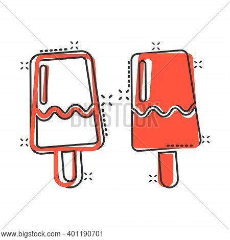 Ice Cream Icon In Comic Style. Sundae Cartoon Vector Illustration On White Isolated Background. Sorb