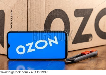 Ozon Logo On The Screen Smartphone Closeup. Ozon Is One Of The First E-commerce Companies In Russia.