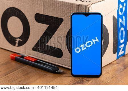 Kazan, Russia - December 28, 2020: Ozon Logo On The Screen Smartphone Closeup. Ozon Is One Of The Fi