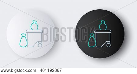Line Dumpsters Being Full With Garbage Icon Isolated On Grey Background. Garbage Is Pile Lots Dump.