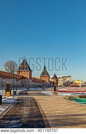 View Of The Embankment Of The Upa River In Tula, Russia. Kazan Embankment And Park In The Historical