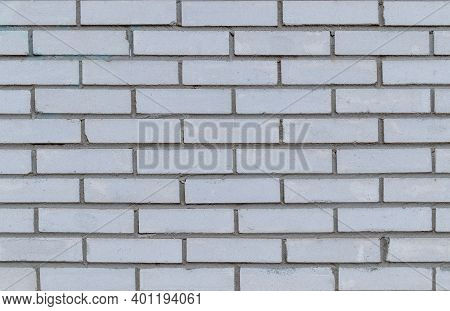 The Wall Of A Modern Building Made Of White Silicate Brick, Texture For The Background