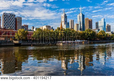 Travel to the edge of the earth. Australia. Magnificent modern city Melbourne. Concept of active and ecological tourism