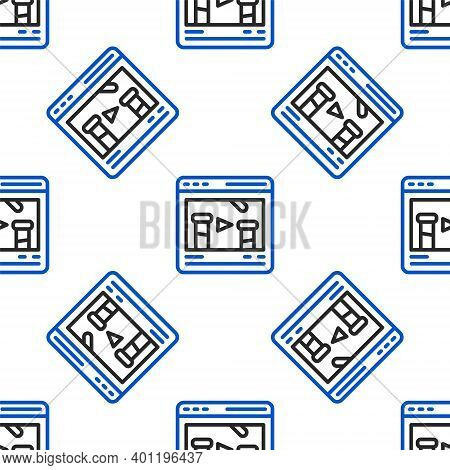 Line Chemical Experiment Online Icon Isolated Seamless Pattern On White Background. Scientific Exper