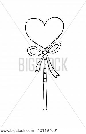 Vector Outline Heart Shape Lollipop Gingerbread On Stick With Bow. Hand Drawn Contour Doodle Clip Ar