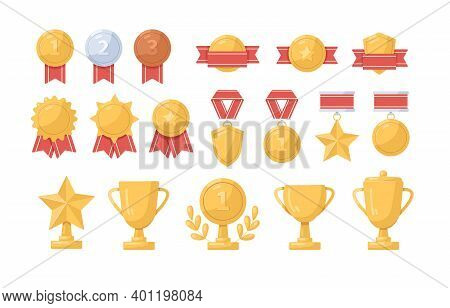 Collection Of Golden, Silver And Bronze Medals, Cups And Badges Vector Flat Illustration. Set Of Tro