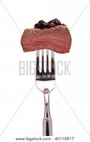 Filet Of Venison On A Fork