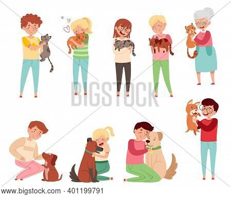 People Characters With Cat And Dog Companion Vector Illustration Set
