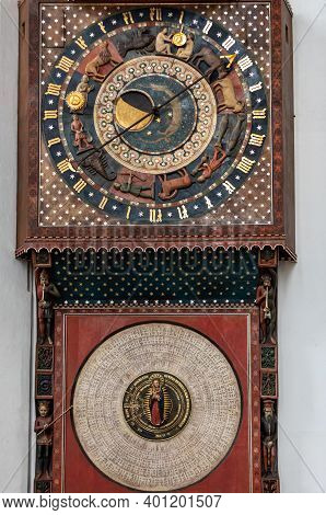 Gdansk, Poland - Sept 9, 2020: Astronomical Clock In St Mary's Church Made In 1464-1470 By Hans Düri
