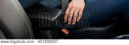 Cropped View Of Man Locking Seatbelt In Car, Banner.