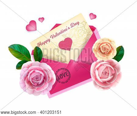 Love Valentines Day Letter Illustration With Pink Envelope, Greeting Card, Roses, Hearts, Leaves Iso