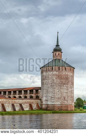 View Of Vologda Tower From Lake, Kirillo-belozersky Monastery, Russia