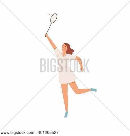 Happy Active Woman Playing Badminton Vector Flat Illustration. Smiling Female In Sportswear Holding