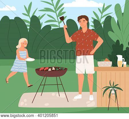 Happy Family Cooking Barbecue At Backyard Vector Flat Illustration. Joyful Father Preparing Vegetabl
