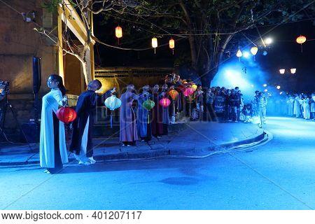 Hoi An, Vietnam, December 28, 2020: Show Represented In The City During The Integration - Lighten Up