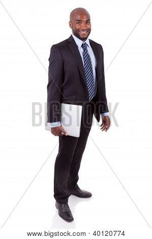 African Amercian Business Man Holding A Laptopn