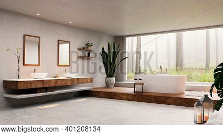 3d Render Of Spacious Modern High Key Bathroom. Big Window Next To Round Bathtub With Tranquil Fores